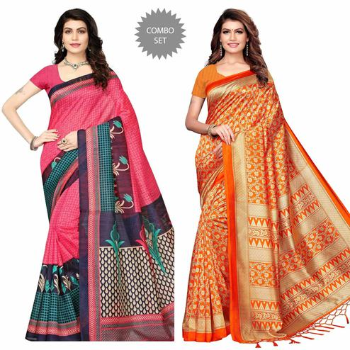 Exceptional Pink - Orange Colored Festive Wear Printed Art Silk - Khadi Silk Saree Pack of 2