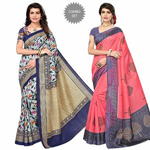 Adorable Festive Wear Printed Bhagalpuri Silk Sarees - Pack Of 2