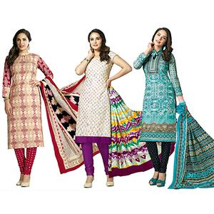 Dazzling Casual Printed Jetpur Cotton Dress Materials - Pack of 3
