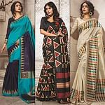 Blue - Black - Cream Bhagalpuri Silk Printed Saree (Pack of 3)