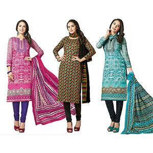 Charming Casual Printed Jetpur Cotton Dress Materials - Pack of 3