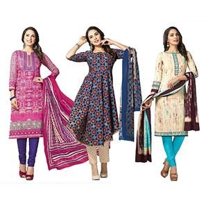 Majestic Casual Printed Jetpur Cotton Dress Materials - Pack of 3