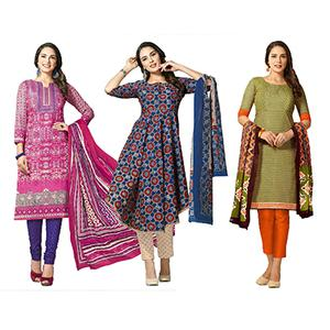 Unique Casual Printed Jetpur Cotton Dress Materials - Pack of 3