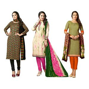 Classy Casual Printed Jetpur Cotton Dress Materials - Pack of 3
