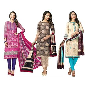 Graceful Casual Printed Jetpur Cotton Dress Materials - Pack of 3