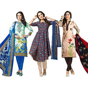 Stylish Casual Printed Jetpur Cotton Dress Materials - Pack of 3