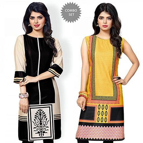 Stunning Black And Yellow Casual Wear Printed Kurti - Pack of 2