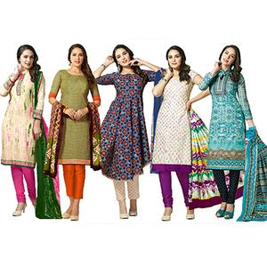 Distinctive Casual Printed Jetpur Cotton Dress Materials - Pack of 5