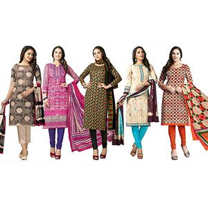 Superb Casual Printed Jetpur Cotton Dress Materials - Pack of 5