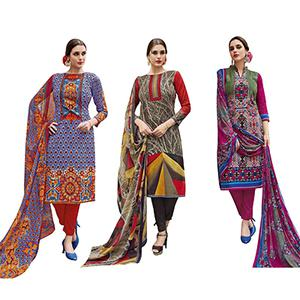 Invaluable Casual Printed Jetpur Cotton Dress Materials - Pack of 3