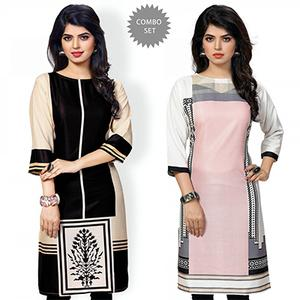 Delightful Black And Pink Casual Wear Printed Kurti - Pack of 2