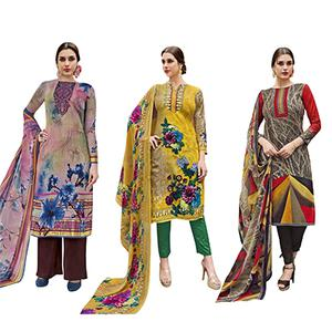 Dashing Casual Printed Jetpur Cotton Dress Materials - Pack of 3