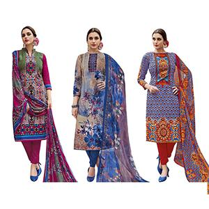 Innovative Casual Printed Jetpur Cotton Dress Materials - Pack of 3