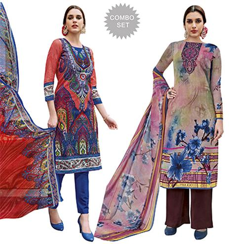 Sunshine Casual Printed Jetpur Cotton Dress Materials - Pack of 2