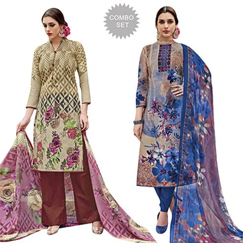 Deserving Casual Printed Jetpur Cotton Dress Materials - Pack of 2