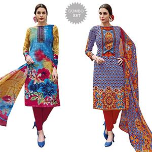 Fabulous Casual Printed Jetpur Cotton Dress Materials - Pack of 2
