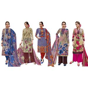 Lovely Casual Printed Jetpur Cotton Dress Materials - Pack of 5