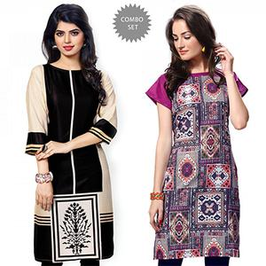 Amazing Black And Multi Casual Wear Printed Kurti - Pack of 2