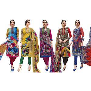 Glorious Casual Printed Jetpur Cotton Dress Materials - Pack of 5