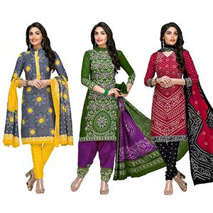 Mesmerising Casual Printed Jetpur Cotton Dress Materials - Pack of 3