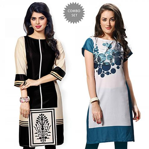 Precious Black And White Casual Wear Printed Kurti - Pack of 2