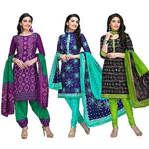 Exceeding Casual Printed Jetpur Cotton Dress Materials - Pack of 3