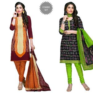 Compelling Casual Printed Jetpur Cotton Dress Materials - Pack of 2
