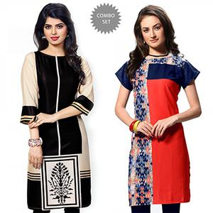 Graceful Black And Red Casual Wear Printed Kurti - Pack of 2
