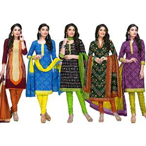 Adorning Casual Printed Jetpur Cotton Dress Materials - Pack of 5