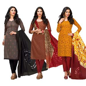 Pleasance Casual Printed Jetpur Cotton Dress Materials - Pack of 3