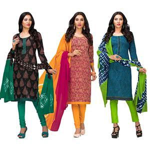 Awesome Casual Printed Jetpur Cotton Dress Materials - Pack of 3