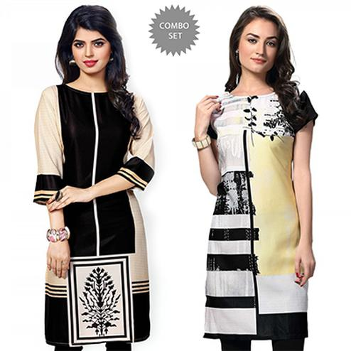 Appealing Black And White Casual Wear Printed Kurti - Pack of 2