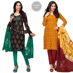 Graceful Casual Printed Jetpur Cotton Dress Materials - Pack of 2