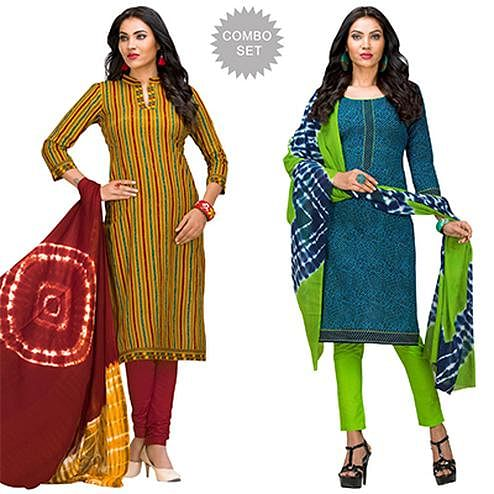 Exceeding Casual Printed Jetpur Cotton Dress Materials - Pack of 2