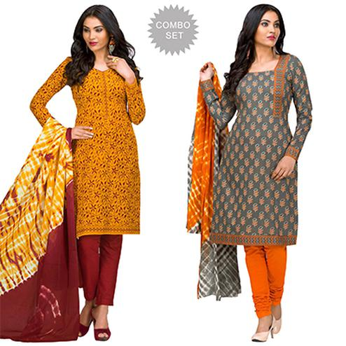Affectionate Casual Printed Jetpur Cotton Dress Materials - Pack of 2
