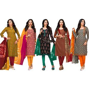 Groovy Casual Printed Jetpur Cotton Dress Materials - Pack of 5