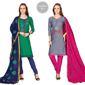 Impressive Embroidered Chanderi Cotton Dress Materials - Pack of 2