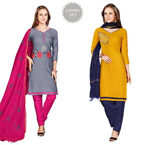 Attractive Embroidered Chanderi Cotton Dress Materials - Pack of 2