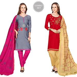 Dazzling Embroidered Chanderi Cotton Dress Materials - Pack of 2