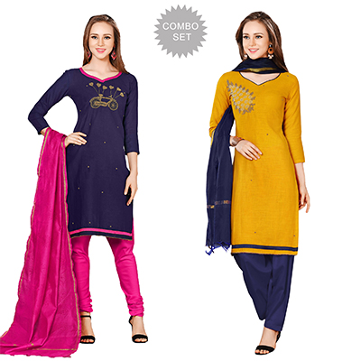 Stylish Embroidered Chanderi Cotton Dress Materials - Pack of 2