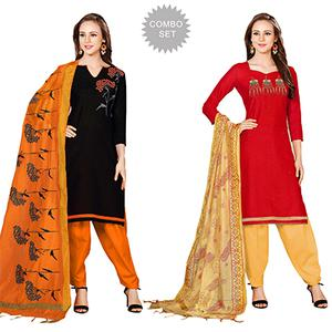 Lovely Embroidered Chanderi Cotton Dress Materials - Pack of 2