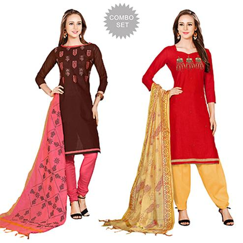 Fabulous Embroidered Chanderi Cotton Dress Materials - Pack of 2