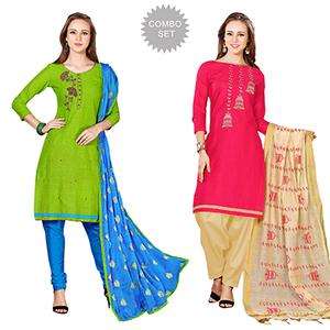 Glorious Embroidered Chanderi Cotton Dress Materials - Pack of 2