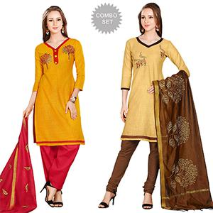 Dashing Embroidered Chanderi Cotton Dress Materials - Pack of 2