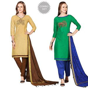 Invaluable Embroidered Chanderi Cotton Dress Materials - Pack of 2