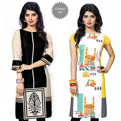Attractive Black And Yellow Casual Wear Printed Kurti - Pack of 2