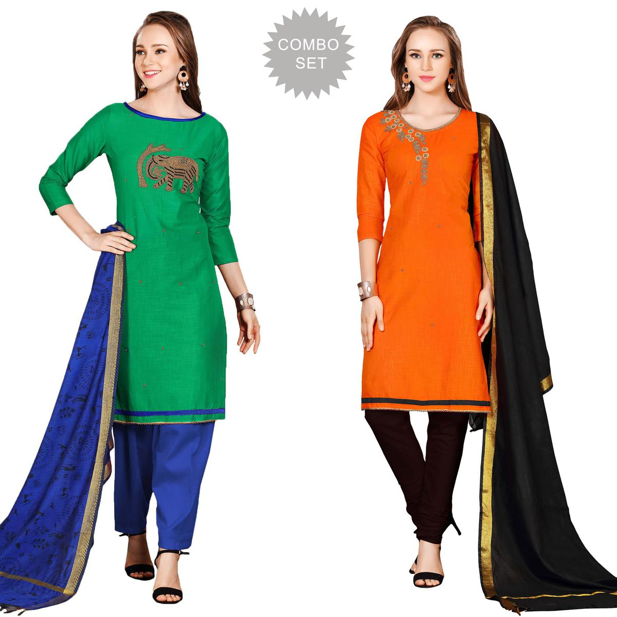 Catchy Embroidered Chanderi Cotton Dress Materials - Pack of 2
