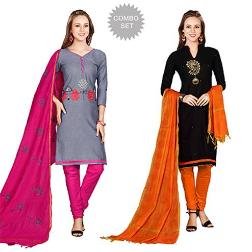 Lively Embroidered Chanderi Cotton Dress Materials - Pack of 2