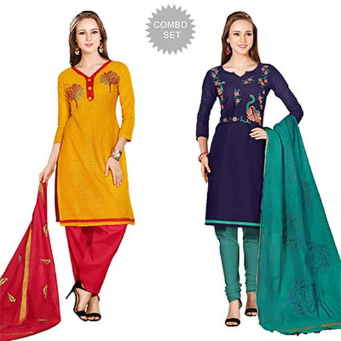 Gorgeous Embroidered Chanderi Cotton Dress Materials - Pack of 2