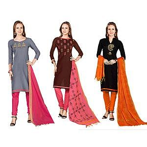 Refreshing Embroidered Chanderi Cotton Dress Materials - Pack of 3